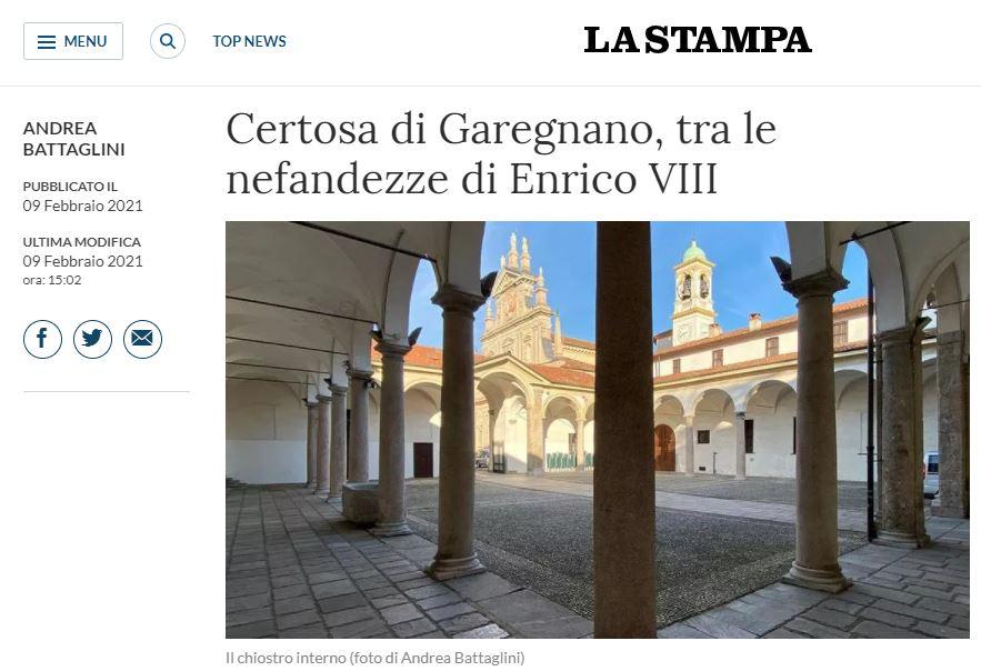 """Certosa di Garegnano è sul giornale di """"LA STAMPA"""""""